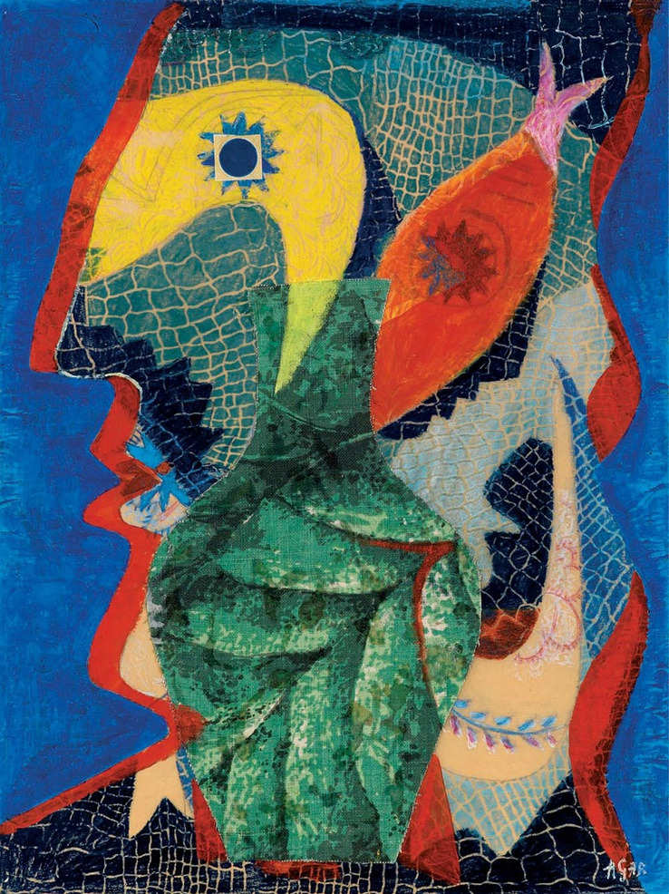 Eileen Agar  Fisherman, 1957  Oil, pastel and collage on paper  50.8 x 38 cm